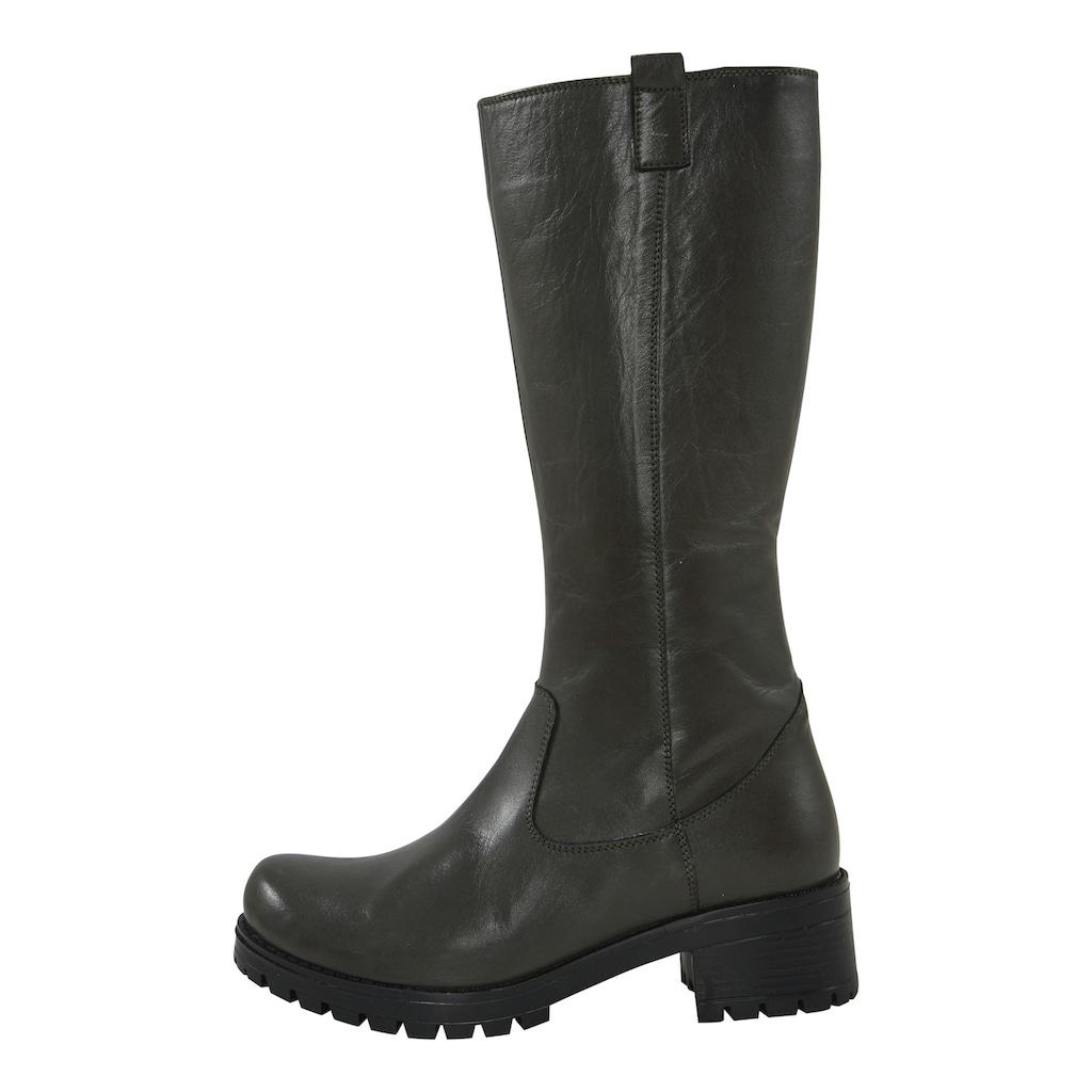 Stiefel mit Blockabsatz und dicker Profilsohle