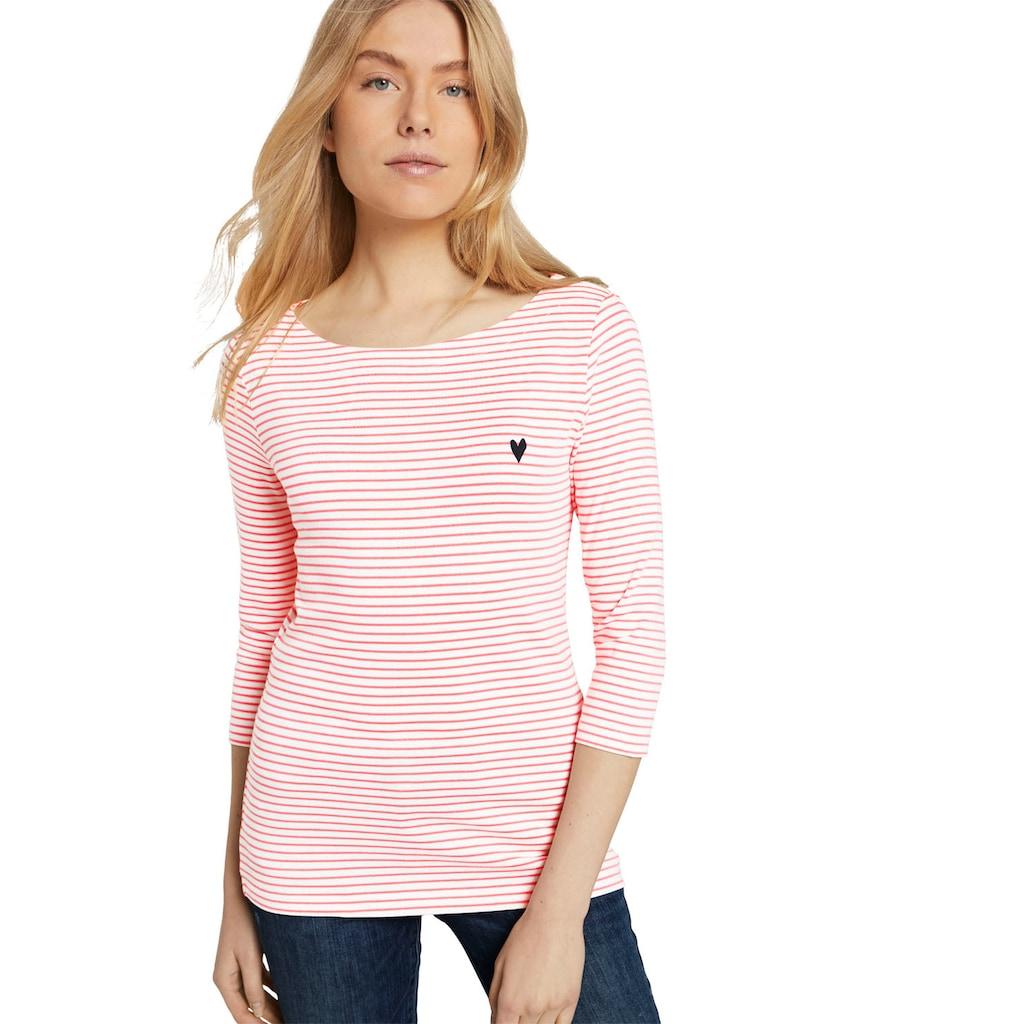 TOM TAILOR 3/4-Arm-Shirt, mit Ringel und kleiner Brust-Stickerei