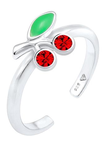 Elli Fingerring »Kirsche, 0606691820«, mit Emaille und Kristall kaufen
