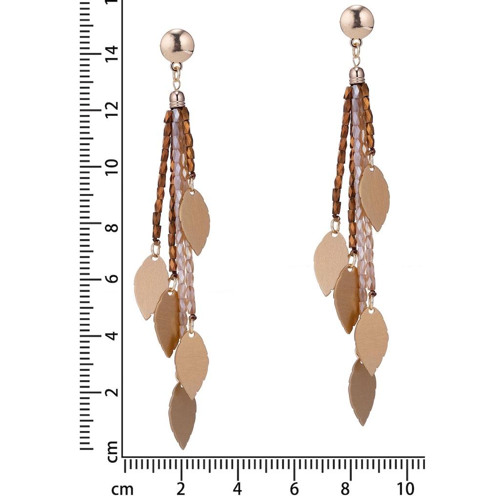 J.Jayz Paar Ohrstecker »mehrreihige Stränge mit Blätter verziert«, mit Glasperlen