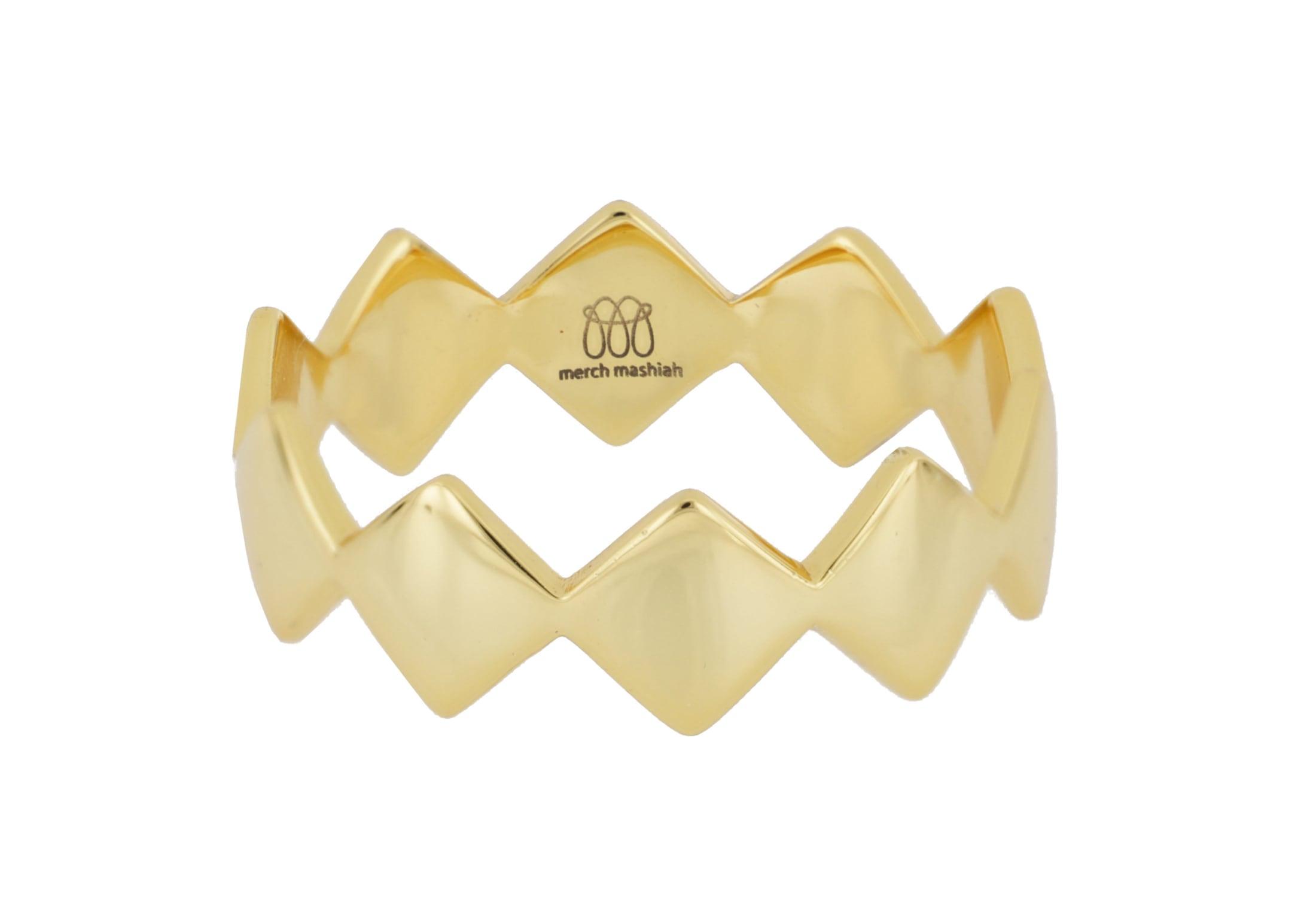 merch mashiah -  Fingerring Ring, glanz, Bronze gelbvergoldet