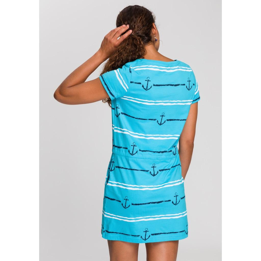 KangaROOS Shirtkleid, im tollen Vogel und Anker Druck oder unifarben