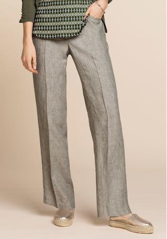 bianca Leinenhose »PARIGI«, mit weitem Bein und dezentem Bindegürtel kaufen