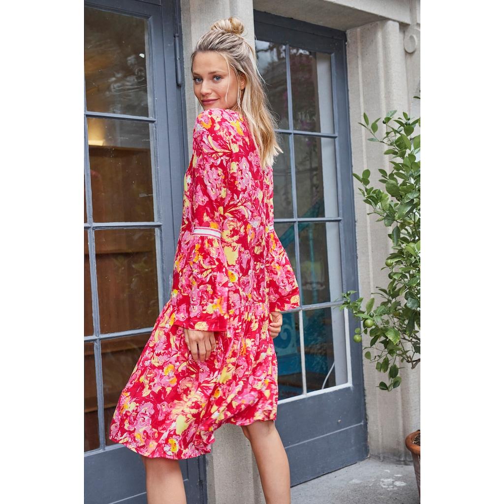Aniston CASUAL Sommerkleid, mit Tape an den langen Trompetenärmeln - NEUE KOLLEKTION