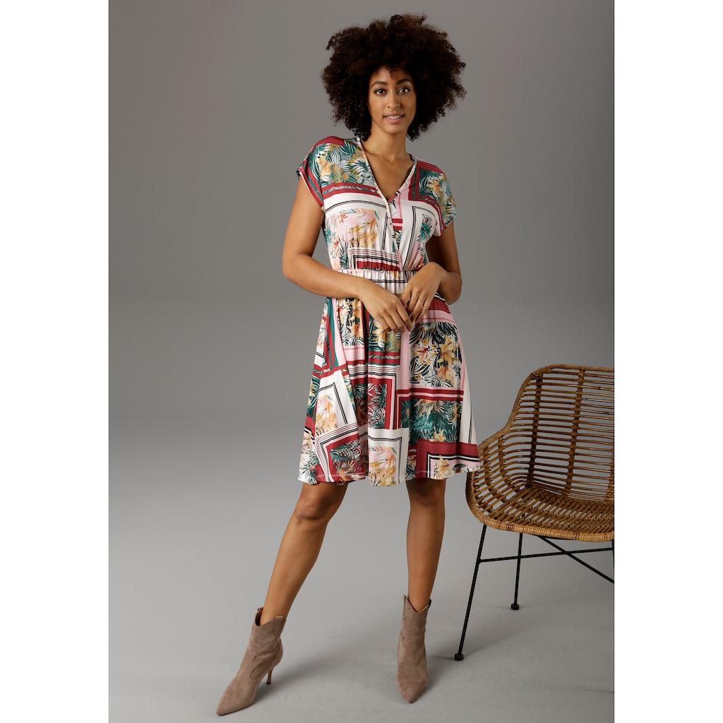 Aniston CASUAL Sommerkleid, mit exotischem Patch-Druck - NEUE KOLLEKTION