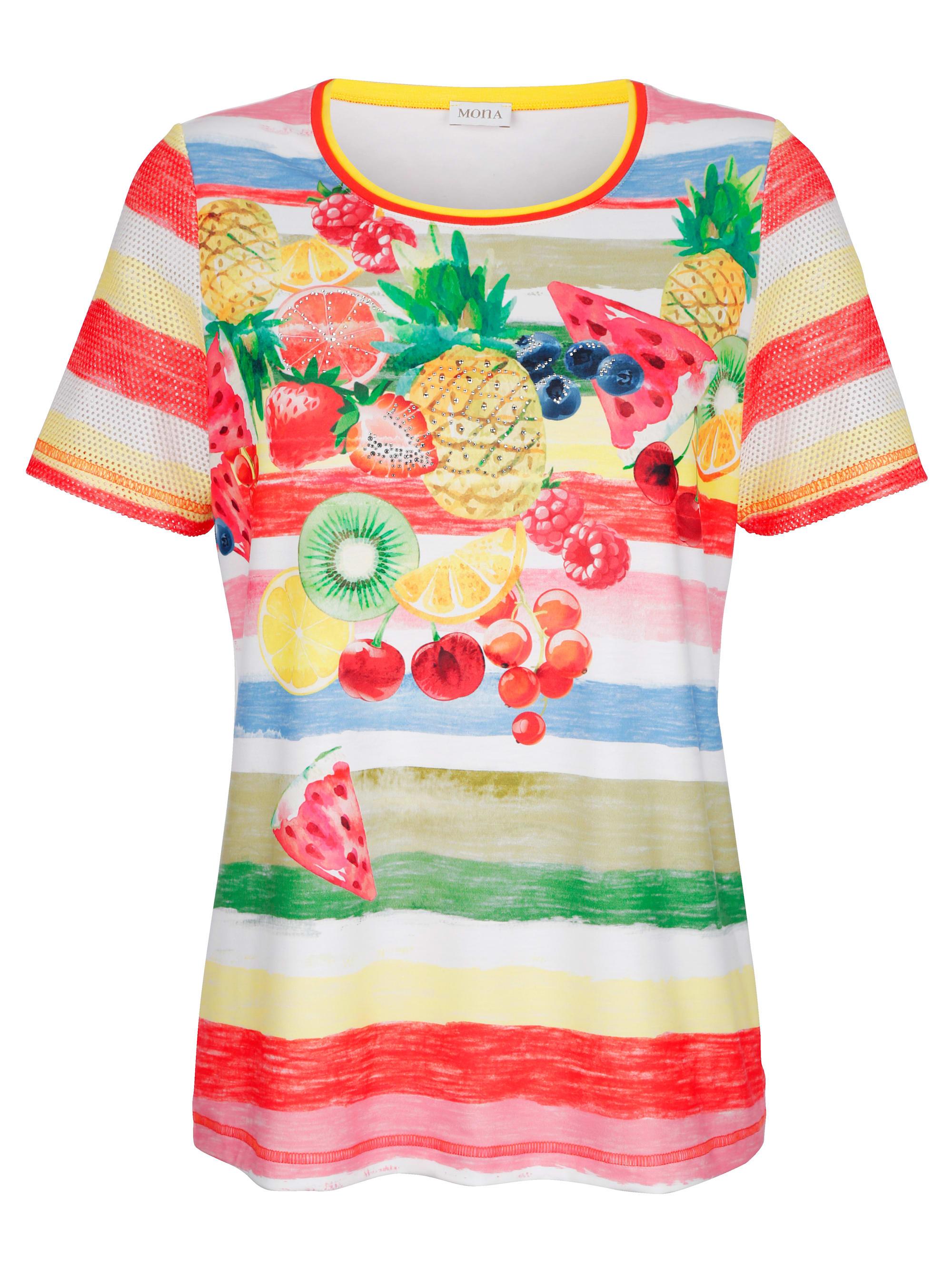 mona -  Kurzarmshirt, in farbenfrohem Ringeldessin