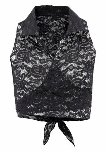 LASCANA Spitzentop, aus transparenter Spitze mit Hemdkragen kaufen