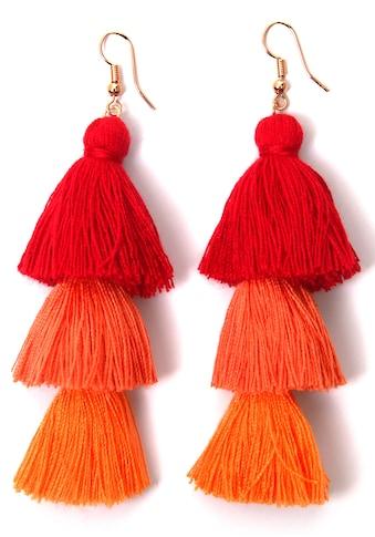 J.Jayz Paar Ohrhaken »Quasten, rot - orange, modisch« kaufen