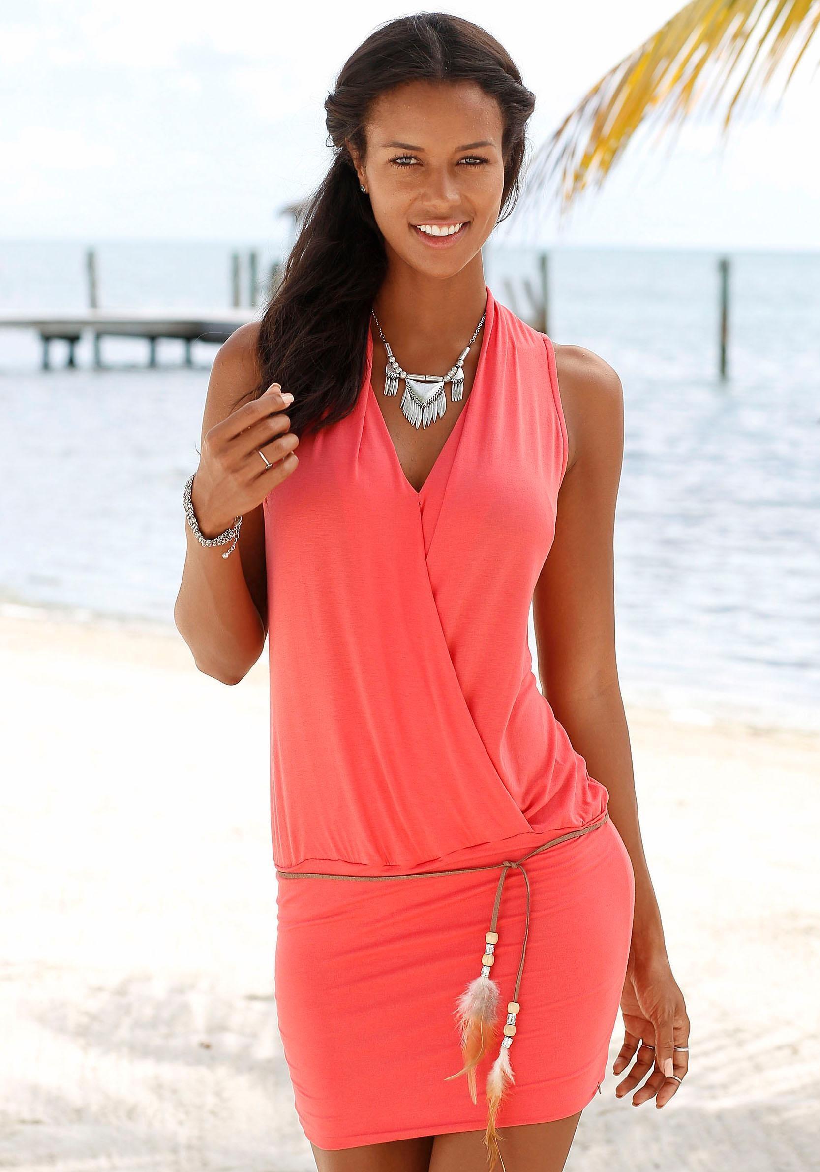 soliver beachwear longshirt Modischer Gürtel mit Zierfedern und Perlen