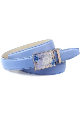 Anthoni Crown Ledergürtel, in hellblau mit Sommerfeeling und Ton in Ton Steppung kaufen