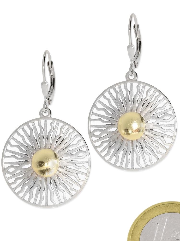 adelia´s -  Paar Ohrhänger Ohrschmuck Sonne 925 Silber