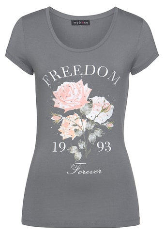 Melrose Kurzarmshirt, mit floralem Druck und Glitzersteinen kaufen