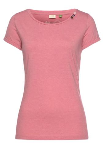 Ragwear T-Shirt »FLORAH A ORGANIC«, mit kontrastfarbigem Zierknopf-Besatz kaufen