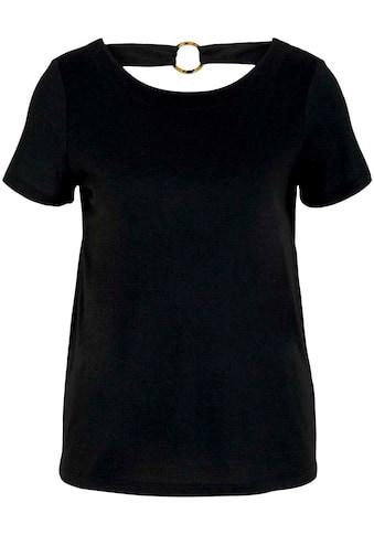 TOM TAILOR Rundhalsshirt, mit V-Ausschnitt und tollem Ring-Detail im Rücken kaufen