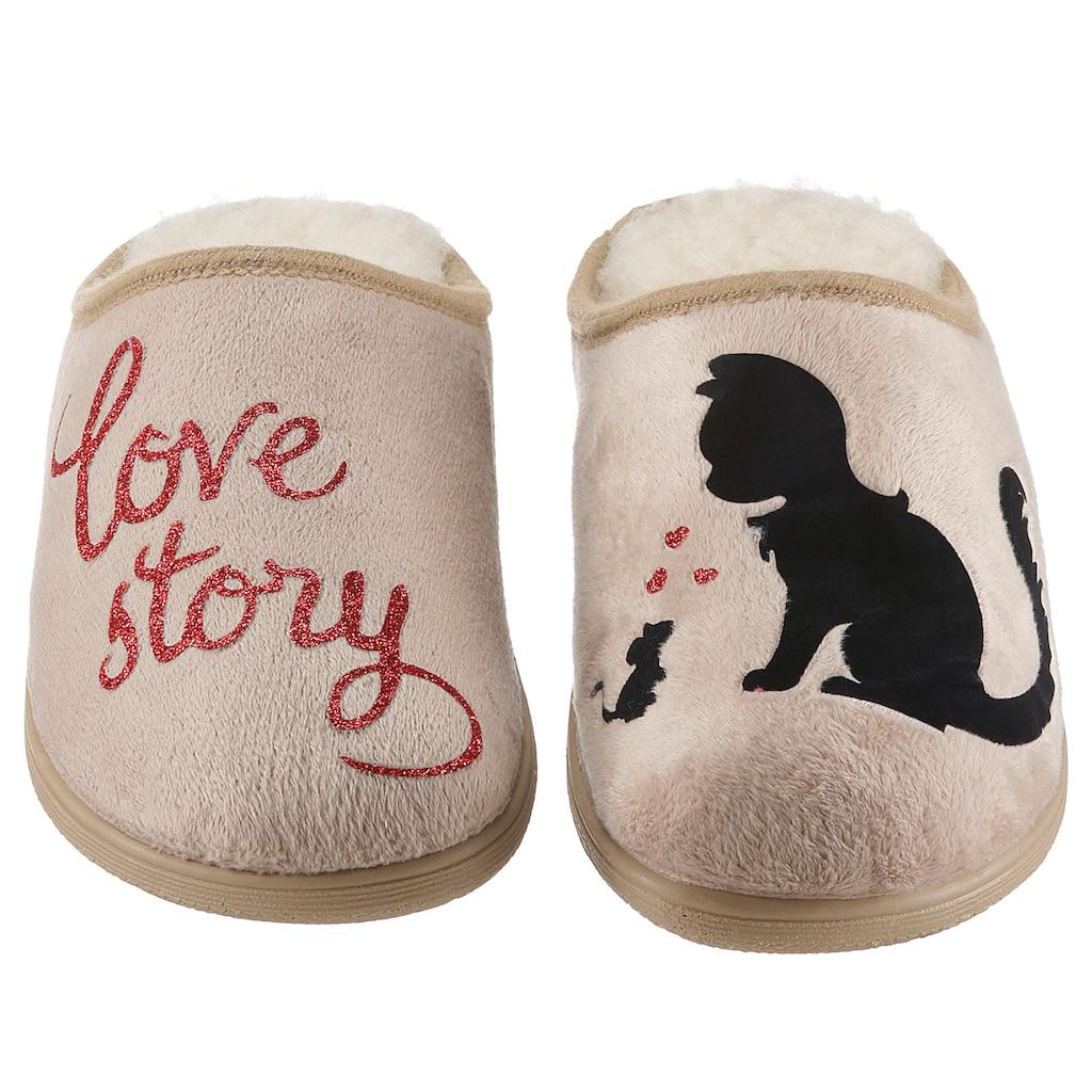 Maybe Pantoffel »love story«, mit süßem Katze/Maus-Motiv