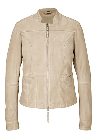 Lederjacke mit Two - way - Zipper kaufen