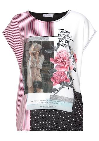 Aniston CASUAL T-Shirt, aktueller Druckmix mit silberfarbenen Glanzstreifen kaufen