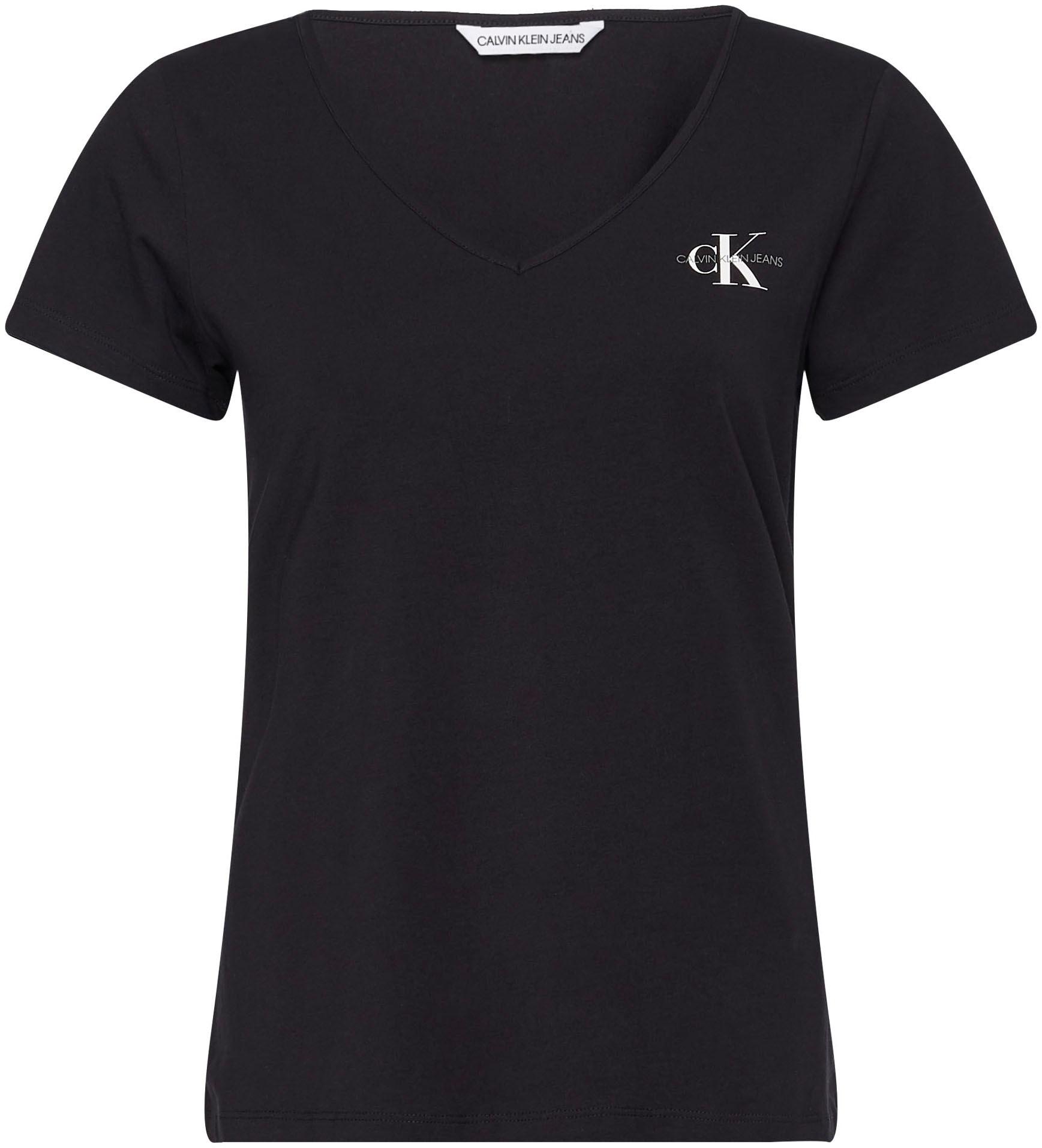 calvin klein jeans -  V-Shirt MONOGRAM SLIM V-NECK TEE, mit CK Monogramm Logo &  Schriftzug