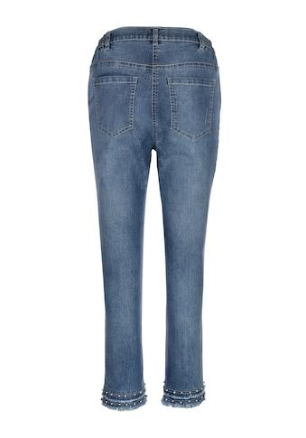 MIAMODA 7/8 Jeans mit Dekoperlen und kleinen Fransen am Saum kaufen