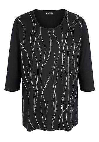 m. collection 3/4-Arm-Shirt, mit silbernem Printdesign kaufen