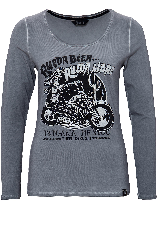 queenkerosin -  Print-Shirt Rueda libre, mit Frontprint und Oilwash-Effekten