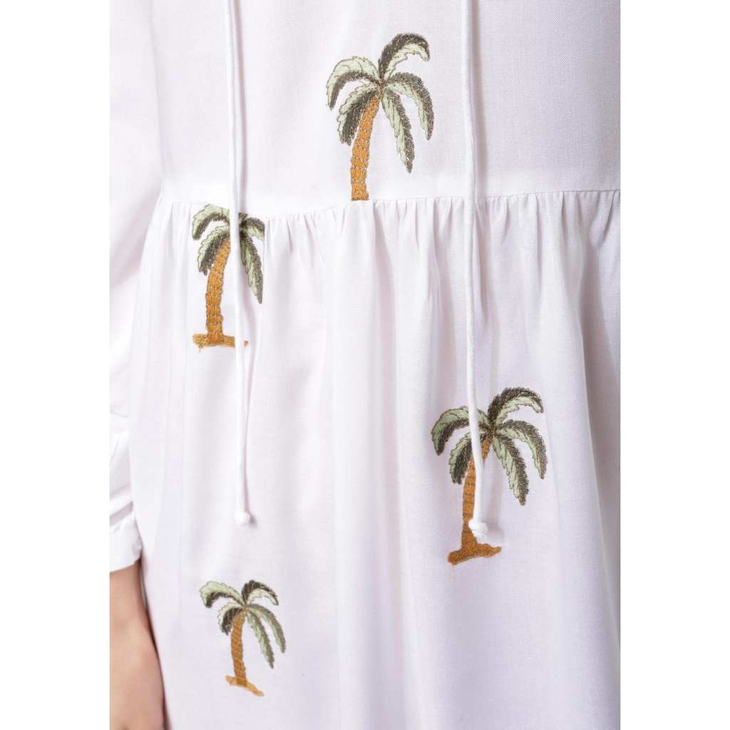 Aniston CASUAL Tunikakleid, mit Palmen bestickt
