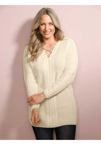 MIAMODA V-Ausschnitt-Pullover, mit Bändern am V-Ausschnitt kaufen