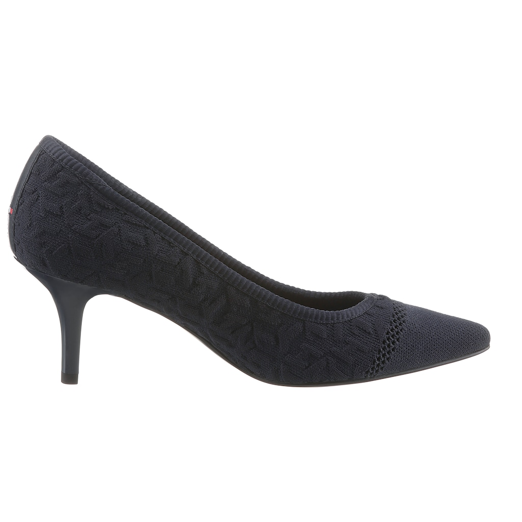 Tommy Hilfiger Pumps »TH KNITTED MID HEEL PUMP«, in spitzer Form