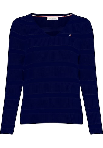 Tommy Hilfiger V-Ausschnitt-Pullover »HAYANA V-NK SWTR«, im modischem Rippenstrick kaufen