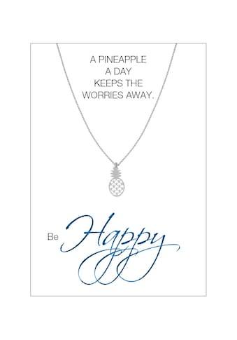 HERZ-KARTE Silberkette »be Happy«, rhodiniert mit Ananas 925/- Sterlingsilber kaufen
