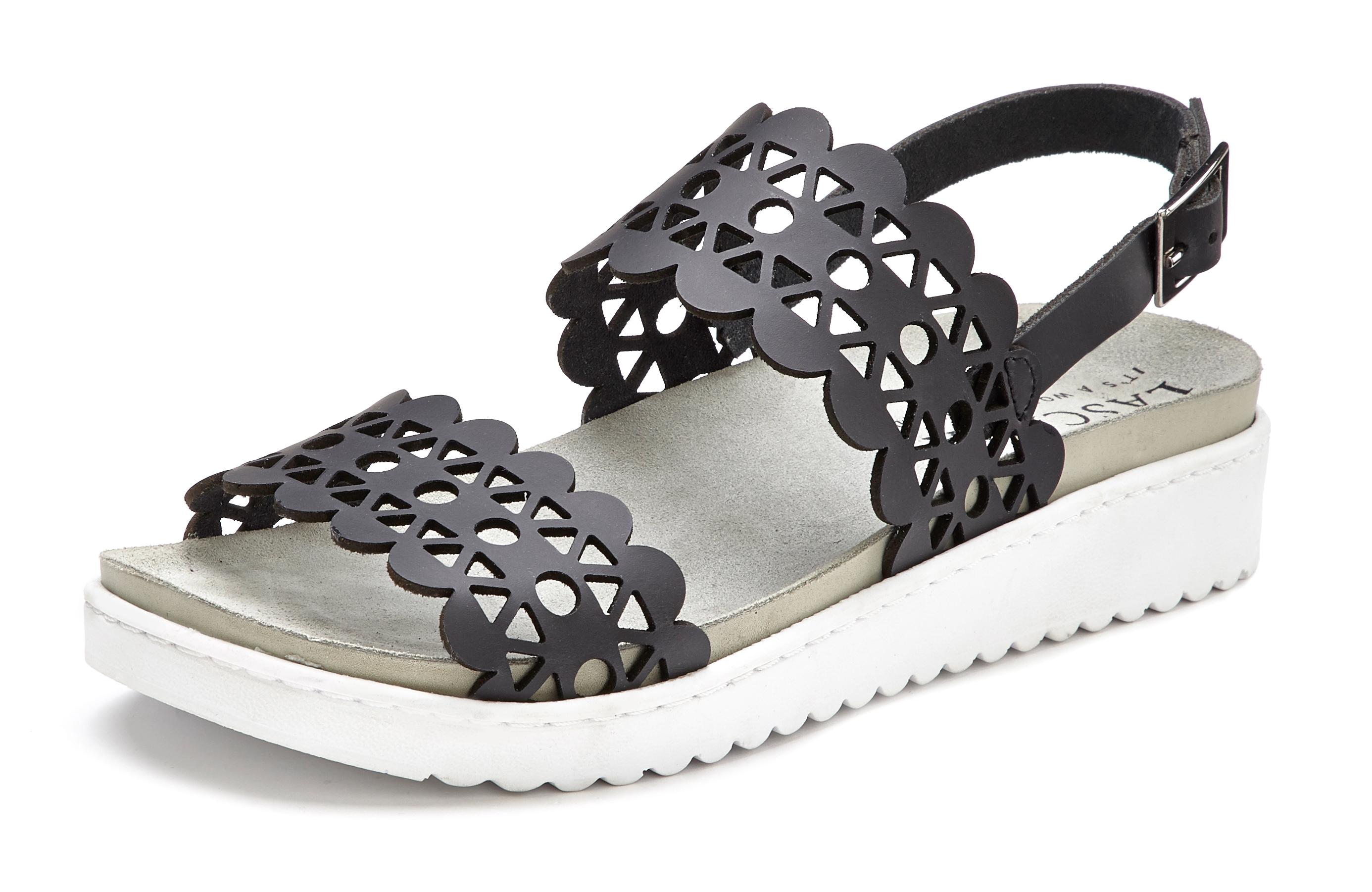 lascana -  Sandale, aus Leder mit bequemem Leder-Fußbett und modischen Cut-Outs