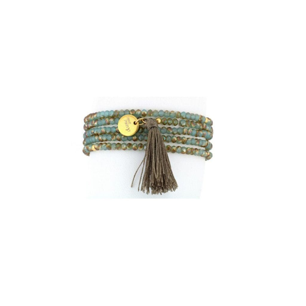SURI FREY Armband »Glory Türkis«, Glasperlen blau/grün mit Tassel khaki