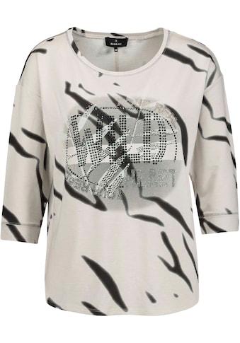 Monari 3/4-Arm-Shirt, mit Strassschrift-Motiv und Tiger-Print im Animal Look kaufen