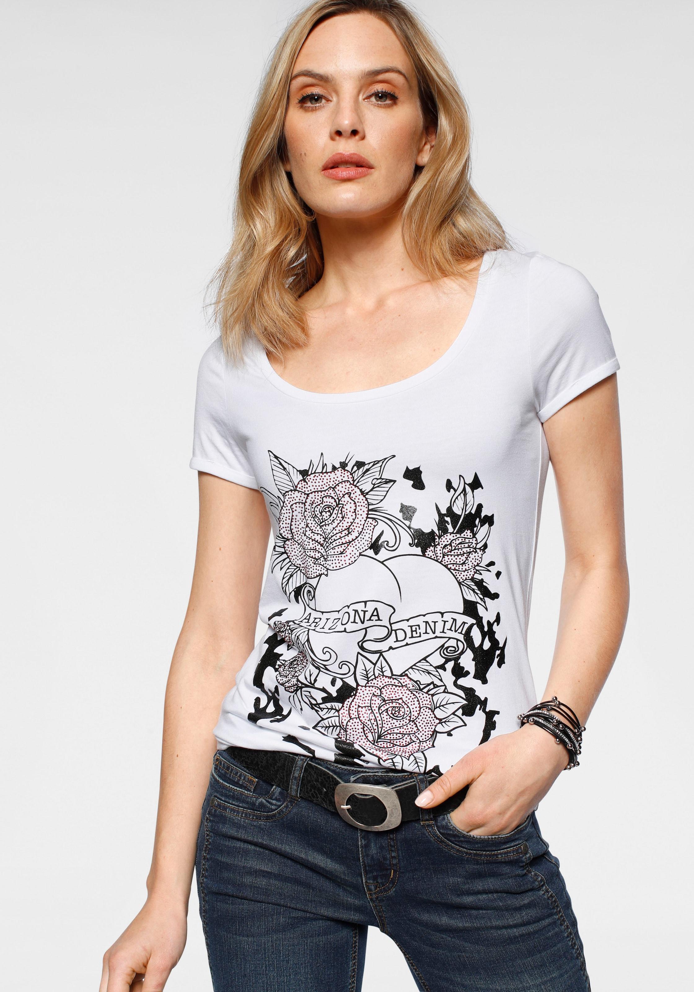 arizona tshirt mit glitzerprint und steinchen Hochwertiges T Shirt von Arizona