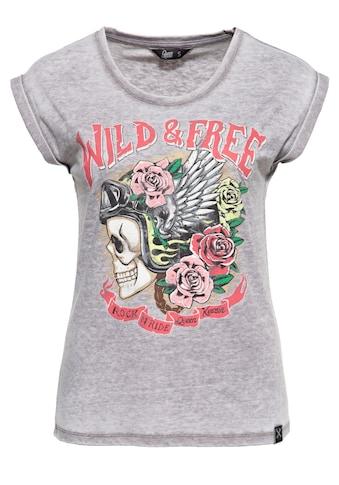 QueenKerosin Print-Shirt »Wild Free«, Enzymwash mit Print kaufen