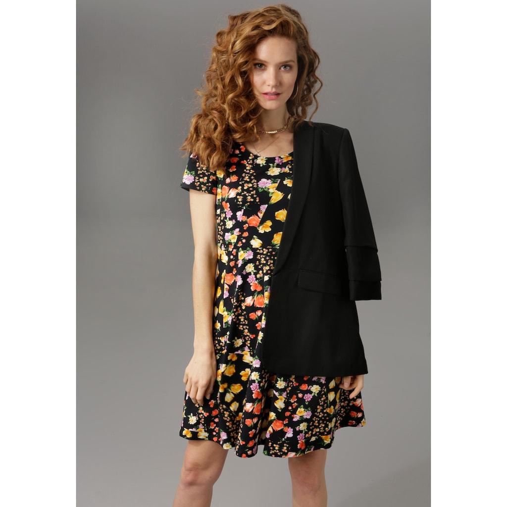 Aniston CASUAL Sommerkleid, mit attraktiven Alloverdruck oder in unifarben Schwarz