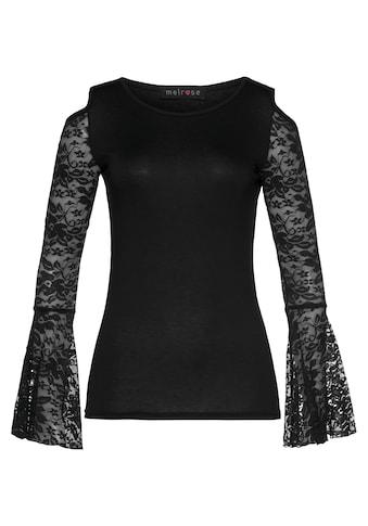 Melrose Rundhalsshirt, mit Volantärmeln aus Spitze - NEUE KOLLEKTION kaufen