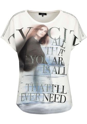 Monari Kurzarmshirt, mit Frauen-Druck, Glitter-Schrift und Glitzersteinen kaufen
