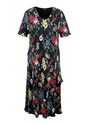 m. collection Plissee-Kleid mit frischem Blütendruck-Muster rundum kaufen