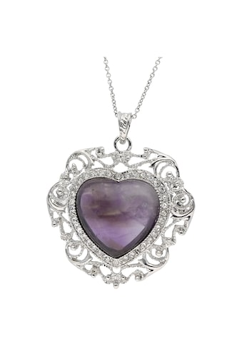 Jacques Charrel Kette mit Anhänger »Herz mit Amethyst und Kristallsteinen, Messing« kaufen