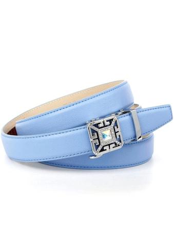 Anthoni Crown Ledergürtel, Sommerlicher Automatik Gürtel in Himmelblau kaufen