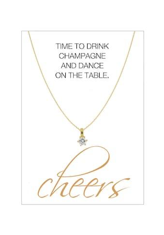 HERZ-KARTE Silberkette »cheers«, Ankerkette vergoldet mit Solitär 925/- Sterlingsilber kaufen