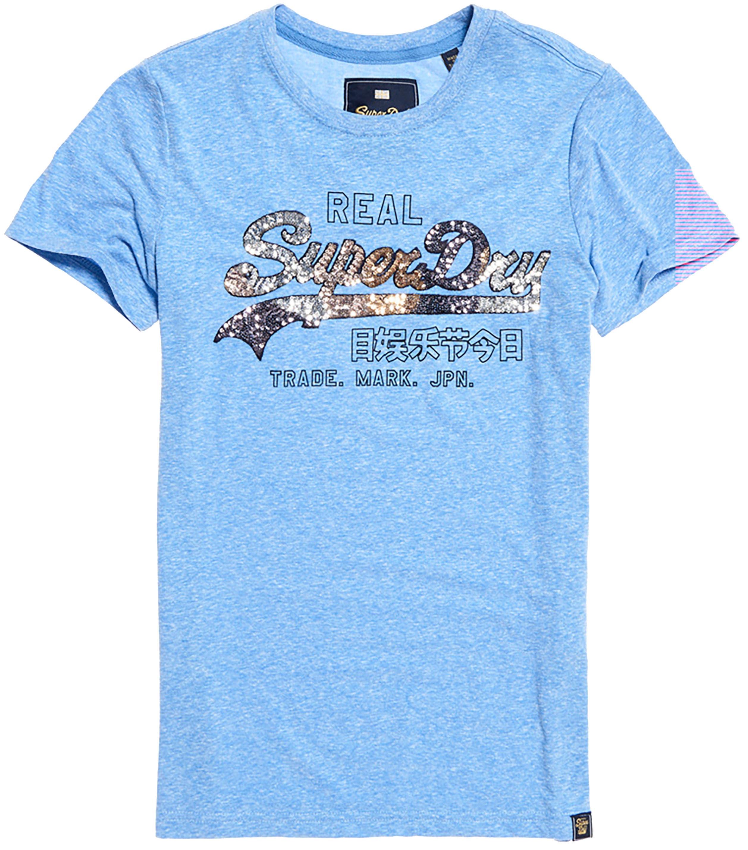 superdry -  T-Shirt VINTAGE LOGO CARNIVAL SEQUIN ENTRY TEE