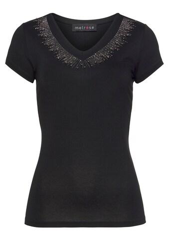 Melrose V-Shirt, mit Zierperlen und Glitzersteinen - NEUE KOLLEKTION kaufen