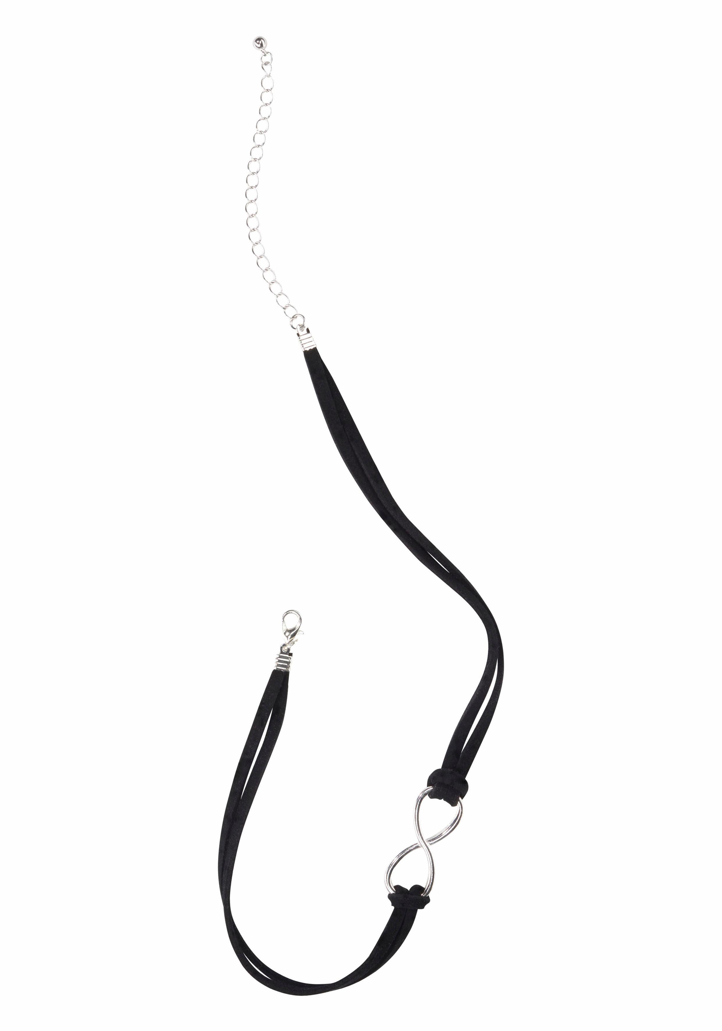 j.jayz -  Halsband Velourcollier schwarz mit Infinity/Unendlichkeits-Zierelement, Choker