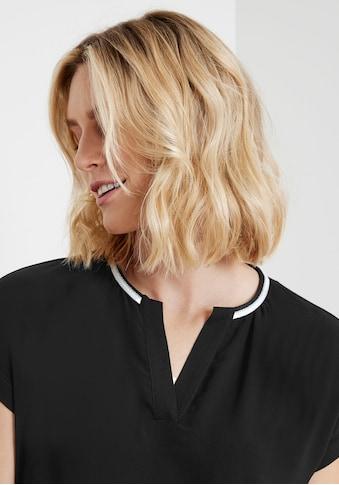 Taifun Shirtbluse, mit kontrastfarbenem Dekoband am Ausschnitt kaufen