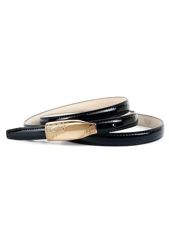 Anthoni Crown Ledergürtel, Schmaler Lackledergürtel, Schließe goldfarben kaufen