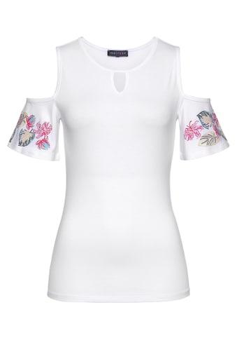Melrose Rundhalsshirt, schulterfrei mit Blumenranke - NEUE KOLLEKTION kaufen