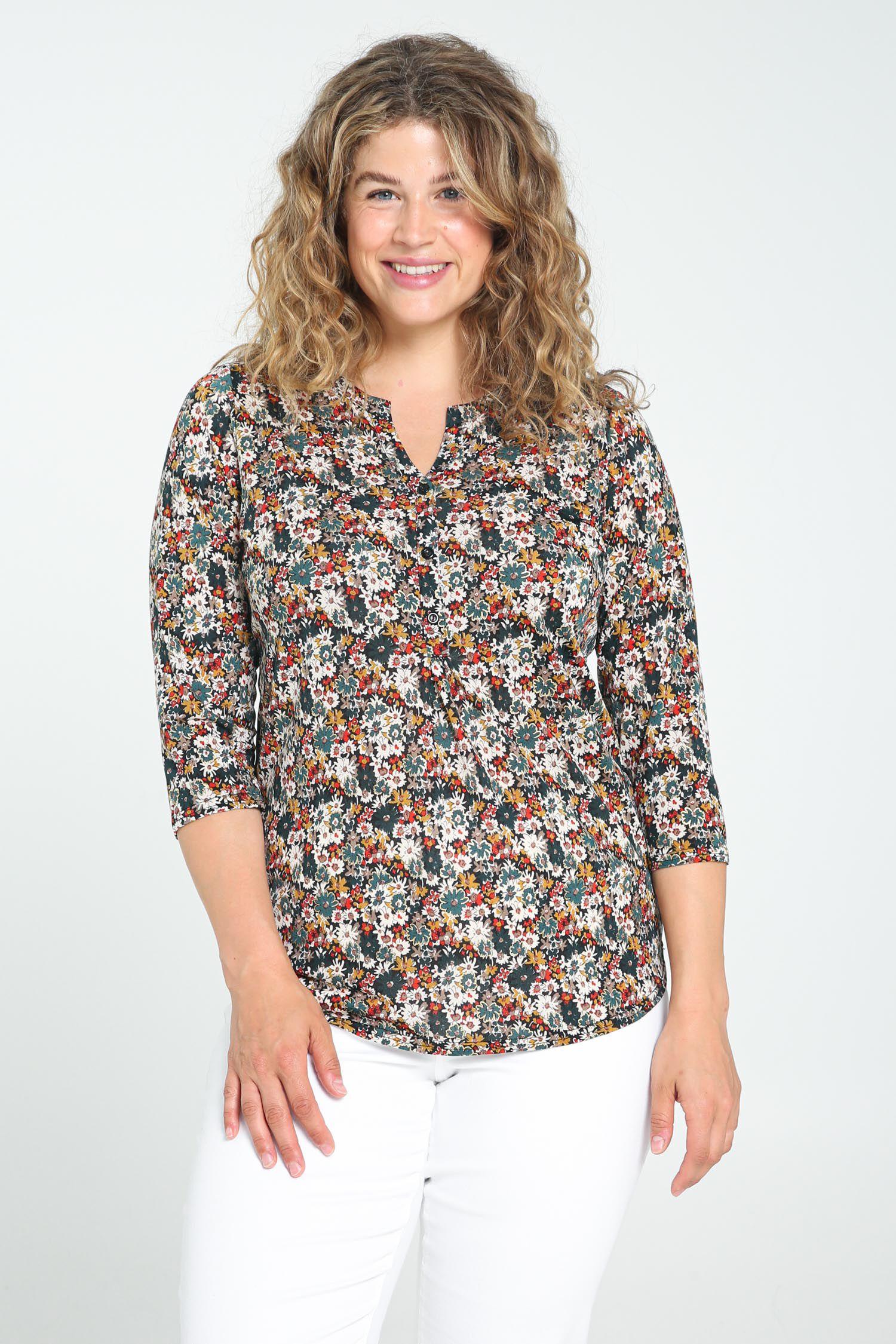 paprika -  Print-Shirt mit breitem Rundhals, casual Naturfarbe aus Viskose