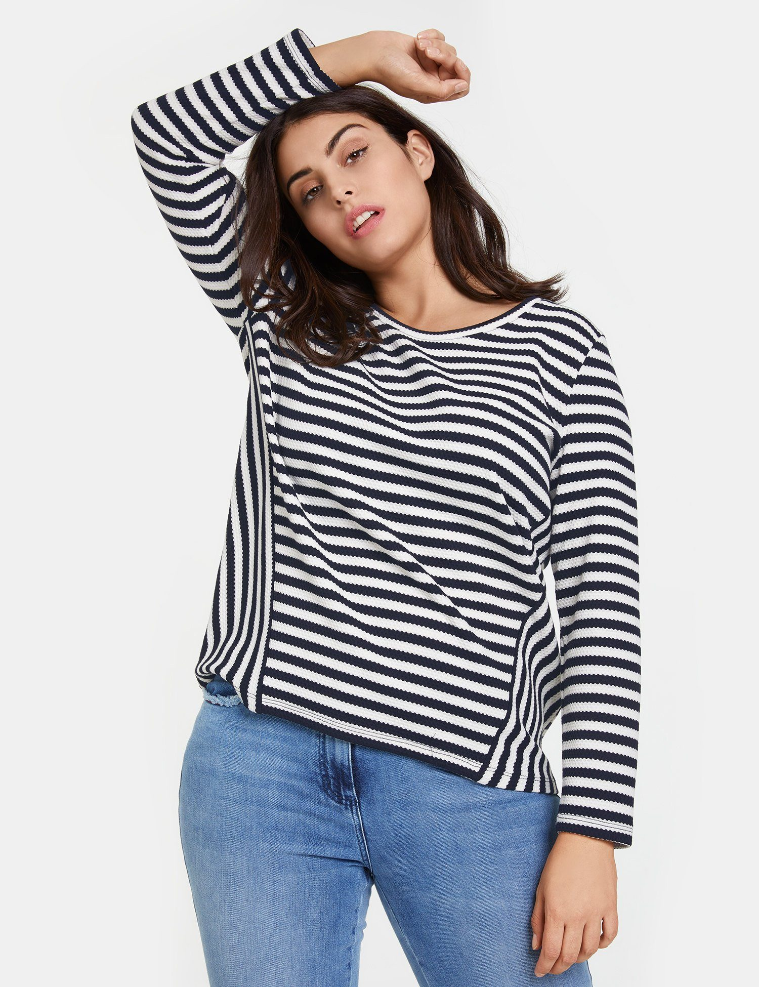 samoon -  T-Shirt Langarm Rundhals Ringel-Shirt aus Struktur-Jersey